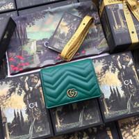 geldbörsen großhandel-heißes grünes echtes Leder kurze Reißverschluss Männer Geldbörse mit Box Gold Brief Hardware Logo Geldbörsen Frauen Kartenhalter 466492 szie 11-9-3 cm