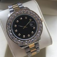 grandes relojes de cuarzo diamante acero inoxidable al por mayor-Nuevo reloj de hombres de diamantes baratos Reloj de pulsera de calendario de cuarzo de lujo con esfera grande Relojes para hombre impermeables de acero inoxidable