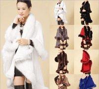 ingrosso grande cappotto di cardigan in lana-Nizza delle signore di inverno cappotti lunghi Poncho Faux Fur grandi iarde maglieria di lana cardigan di cachemire Scialli Mantello Femminile Faux Fur Coats Fox per le donne