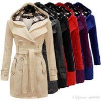 costela cinturão venda por atacado-Nova ampla xadrez chapéu casaco cinto trespassado casaco longo moda feminina inverno quente chapéu longo casaco