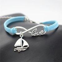 tekne malzemeleri toptan satış-Yapma Malzemeleri Mavi Deri Süet Bileklikler Bilezikler Gümüş Infinity Aşk Yelkenli Gemi Yelken Tekne Şekilli Muska Kadın Erkek En Iyi Hediye takı