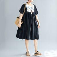 vestidos de estilo popular de las mujeres al por mayor-Johnature Summer Folk Style bordado vestido suelto mujeres empalme borla Tie manga corta Casual coreano hasta la rodilla vestidos 2019