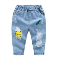 Wholesale child girls rip jeans resale online - Baby Ripped Jeans Boys Cartoon Print Girls Pants Spring Autumn Children Trousers Casual Kids Jeans for Boy Gir