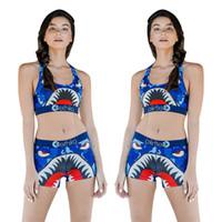 westen für frauen groihandel-Ethika Frauen Badeanzug Beachwear I-förmige Weste Badeshorts Badebekleidung Plaid Badeanzug Shark Camouflage Camo Badeanzüge Bikini Set 1PCSA3212
