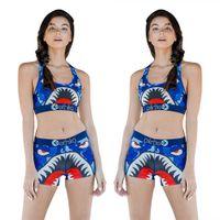 chaleco multicolor al por mayor-Ethika Traje de baño para mujer Ropa de playa Chaleco en forma de I Pantalones cortos de baño Traje de baño A cuadros Traje de baño Camuflaje de tiburón Traje de baño Bikini Set 1PCSA3212