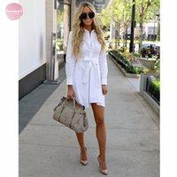 damas de viscosa vestidos casuales de verano al por mayor-Vestidos de camisa blanca de vestir de verano de manga larga de algodón con manga kimono botones Mujer señoras de la oficina suave vestido de las mujeres viscosa informal