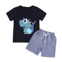 diseño de dibujos animados camiseta niños al por mayor-Nuevo diseño Conjunto de ropa para bebés Ropa para niños Camiseta de dinosaurio de dibujos animados de verano + Pantalones a rayas 2pcs / set Trajes para niños