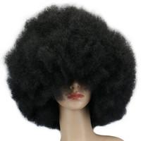 Wholesale super curls hair resale online - 200g Super Big Short Culry Cosplay Party Black Dance Afro hair women Lemecima Fluffy Roll Explosion Head Women Black Curls Full Hairnets
