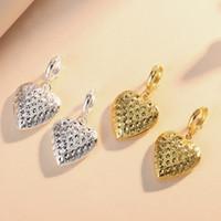 aretes de medallón al por mayor-Medallones flotantes en forma de corazón Pendientes de caja de fase en forma de diamante oro Pendientes de plata Se adapta a joyas de estilo europeo de cobre