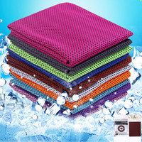 tuch einzelhandel taschen groihandel-Ice Towels Instant Cooling Towel Reusable Double Colors Cool Towels Quick Dry Cloth Fitness Yoga Climbing Exercise with Retail Bag YW3186