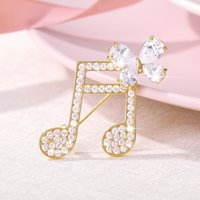 Wholesale musical brooches resale online - Free shippin Dainty Musical Note Brooches For Women Gold Metal Lapel Pin Men Suit Crystal Brooch Jewelry Gift For Musician
