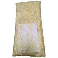 diseño de cordones de boda africanos al por mayor-Nuevo diseño de telas de encaje estilo africano árabe tela de encaje francés para vestidos de boda de noche vestido de fiesta de alta calidad 426-14