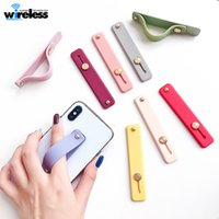 Wholesale band bracket for sale – best Silicon Phone Hand Band Holder Universal Finger Ring Holder For iPhone Wristband Strap Push Pull Grip Stand Candy Color Bracket