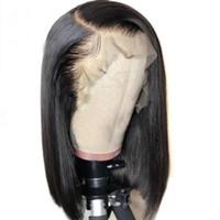 kısa düz dantel ön insan saçı toptan satış-Kısa Bob Peruk 13x6 13x3 Dantel Ön İnsan Saç Peruk Siyah Kadınlar Için 360 Dantel Frontal Peruk Perulu Düz Remy Saç