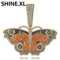 цепь бабочки большая оптовых-Ледяной Цепи Большой Цвет Бабочки Сплошной Задней Кулон Ожерелье Цепочка Золото Посеребренная Очарование Мужская Женская Идея Подарка