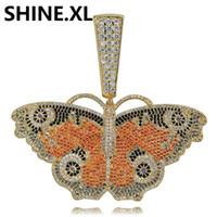 chaîne papillon grande achat en gros de-Glacé Out Chain Big Butterfly Couleur Solide Pendentif Retour Collier Chaîne Or Argent Plaqué Charme Hommes Femmes Idée Cadeau
