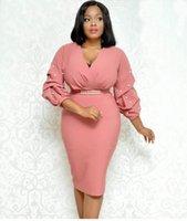 бисерные платья для женщин оптовых-2019 Женщины вскользь плиссированные V-образным вырезом из бисера волна рукава Commute платье Женщины Тонкий Midi платье