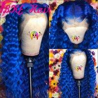 ingrosso capelli lunghi della parrucca blu-Parrucche piene in pizzo brasiliano con pre-pizzi lunghi con capelli per bambini crespi Ricci crespi blu / rosa / biondi / neri / marroni per le donne africane