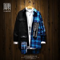 oversized womens shirts 2021 - Patchwork Plaid Men Shirt Women Thick Oversized Loose Hip Hop Long Shirts Coat Loose Streetwear Vintage Womens Tops Blouses 50