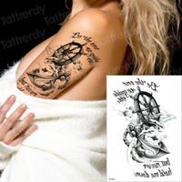 tatuagem de adesivo de âncora venda por atacado-Tatuagens temporárias pirata tatuagem âncora bússola tatuagem longa duração tatoo etiqueta palavras 3d meninos tatuagem homens braço tatto mangas meninos