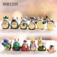 ingrosso miyazaki hayao totoro figura-decorazione del paesaggio 12 pz / set miniature Hayao Miyazaki Totoro Mini giardino fata decorazione del giardino resina figura artigianato micro paesaggio