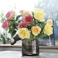 ingrosso piccoli fiori di seta rosa-Hot Rose Pink Silk Peony Artificial Flowers Bouquet 3 Big Head e 4 Small Head economici fiori finti per la decorazione domestica di nozze al coperto