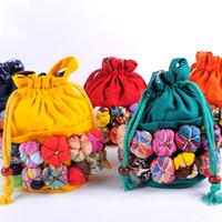 cüzdan için bez çantalar toptan satış-11 Renkler İpli çanta Çin Etnik Karakter Bez El Yapımı Bebek Renkli Dikiş Sikke çanta Çocuklar Çocuk Kabak Omuz Çantası C5863