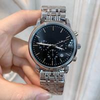 quartz watch mens venda por atacado-Todos Subdials Trabalho Mens Relógios de Quartzo De Aço Inoxidável Relógios De Pulso esporte relógio Relógio de Luxo Top Quality Relogies Para Homens Relojes Melhor Presente