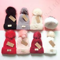 üst sınır toptan satış-Tasarımcı Pom Fleece kasketleri UG Kayak Kadınlar Kış Sıcak Fleeced Şapka Açık Spor Beanie Crochet Hat Lüks Kayak Kar Cap 7color C91101 Caps
