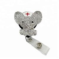 nuevos carretes al por mayor-10 unids / lote Nuevo Diseño Brillante Rhinestone Cristal Animal Elefante Médico Médico Enfermera Retráctil ID Badge Reel Holder