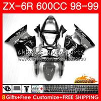 Wholesale ninja 636 black gold resale online - Body For KAWASAKI NINJA ZX R ZX R R ZX ZX600 CC NO CC ZX636 ZX ZX6R Fairing kit grey black hot