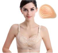 free boobs brust großhandel-Freie Verschiffen Pfosten Mastektomie Baumwolle Brusttasche BH für Prothesen Brustkrebs Falsch Boob Silikon-Brust-Büstenhalter-Profi