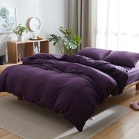 Wholesale grey modern bedding for sale - Cotton Knitted Fabric Solid Purple Blue Pink Grey Bedding Set Twin Full Queen King Size Duvet Cover Flat Sheets or Fitted Sheet