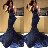 Wholesale party for sale - Dark Navy New Sexy Mermaid Prom Dresses Deep V Neck Sparkly Sequin Court Train Formal Evening Party Gowns Special Occasion Dress