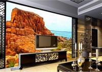 остров фотография оптовых-Нестандартный размер 3d фото обои гостиная кровать росписи Beautiful Seaside Island 3d картина диван ТВ фон обои нетканые наклейки