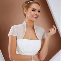 elfenbein organza bolero großhandel-kurze Organza Sommer Hülsenhochzeitsjackenbolerojacken für Brautpartei Weiß Elfenbein nach Maß Brautverpackung
