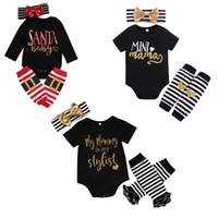 bebek kıyafeti kravat toptan satış-Bebek Noel Giyim Setleri 5 Tasarım Karikatür Baskılı Tulum Çocuklar Tasarımcı Kızlar Şerit Papyon Bandı Bacak Isıtıcı 3 Adet Kıyafet 0-2 T 04