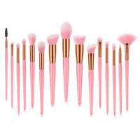 melhores cosméticos maquiagem venda por atacado-Professional Private Label Oem Make-Up 15 Pcs Maquiagem Make Up Cosmetic Brush Set, o melhor presente rosa maquiagem escova cosméticos