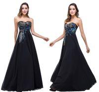 vestidos de noite preto pavão venda por atacado-2020 quentes dentro Stock Preto Vestidos querido pavão bordado formal do partido Prom Vestidos Vestidos CPS342 de festa