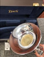 instrument trompete silber großhandel-Bach versilberte Trompete LT180S 37 Trompete mit eingraviertem originalem blauen Gehäuse für B-Ton-Musikinstrumente