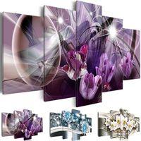 yağlıboya tablolar mor çiçekler toptan satış-5 Paneller Soyut Çiçekler Boyama Mor Çiçek Yağı Resimleri Salon Decoracion Resimlerinde 5 Parça Tuval Duvar Sanatı Yok çerçeve