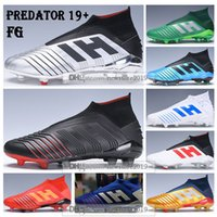 futbol futbol botları firma toprakları toptan satış-Çocuklar Yüksek Üstleri Futbol Çizmeler Gençlik Predator 19 + Firma Zemin Cleats ZIDANE BECKHAM Erkek Kadın Predator 19 FG X Pogba PP Futbol Ayakkabıları