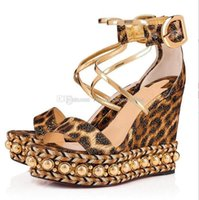 Wholesale sexy wedding dress patterns for sale - Group buy Top quality Luxury Designer Style Leopard Patterns Women Chocazeppa Platform Wedge Sandals Dress Wedding Red Bottom Sexy Brand Shoes