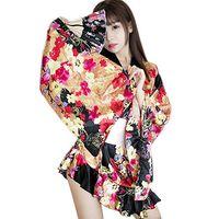 batas estilo kimono de mujer al por mayor-de Sexy japonesa kimono de las mujeres del estilo tradicional yukata pijamas Mujeres Kimono de Sakura Disfraces Juegos de rol L con G-String