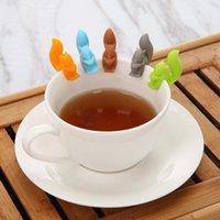ingrosso borsa scoiattolo-Bustina di tè del silicone Tè Infuser Squirrel dispositivo di sospensione Lumaca Mug Cup Etichetta clip festa di Capodanno Forniture EEA582