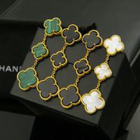 copper toptan satış-Moda bakır kaplama dört yapraklı yonca kolye küpe bayanlar için lüks marka takı