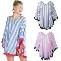 Wholesale women shawl shirt for sale - Group buy 2019 Summer Women V Neck cloak Tops fashion Striped tassel shawl Casual Tees Maternity Women Clothes colors T shirts C6718