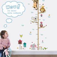 stickers enfants hauteur achat en gros de-Nouveau design enfants dessin animé décoration murale bébé fille garçon hibou éléphant zoo hauteur mesure sticker mural