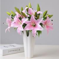 weiße blumenbüros großhandel-6 stücke Tiger Lily Künstliche Real Touch Blumen Hochzeit Bouquets für Home Office Dekoration Weiß