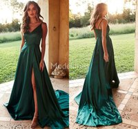Wholesale evening dresses for sale - Sexy Evening Dresses High Side Split Spaghetti Strap A Line Sweep Train Formal Party Prom Gowns Solid Specail Occasion Dress Vestidos